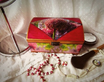 Painted magenta wooden box