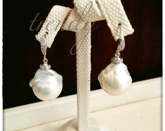 Freshwaterpearls&Silver925 Pebble earrings