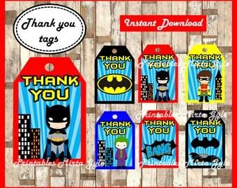 Batman Thank you Tags, printable Superhero party Thank you Tags, Batman baby gift tags