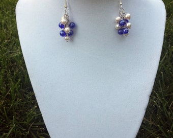 Blue and Pink Cluster Earrings / Pearl Earrings