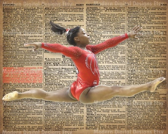 Simone Biles Printable Typography Text Art Word Art Motivational Poster, USA Gymnast 5x7 8x10 16x12 INSTANT DOWNLOAD