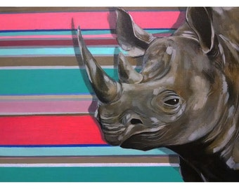 Rhino (24 x 18 original acrylic painting on canvas board)