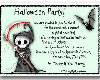 Printed Personalised Halloween Party Invitations x10 with envelopes