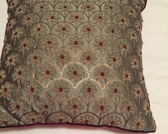 Hand embroidered luxury one of a kind silk pillow. Took 2 weeks to make.