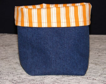 Upcycled Denim Tote Basket With Orange and Cream Striped Lining