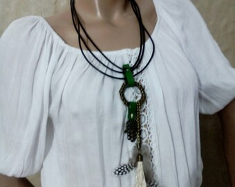 Boho Chic Tassel Leather Necklace with feathers