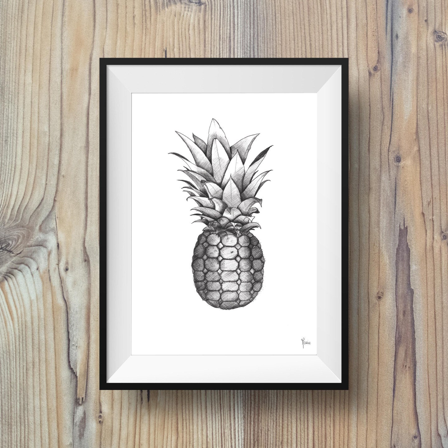 affiche illustration ananas noir et blanc. Black Bedroom Furniture Sets. Home Design Ideas