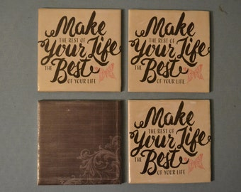 4x4 brown/tan coaster with quote