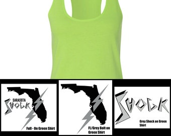 Women's Slim Racerback Tank in Neon Heather Green: 3 Designs Available