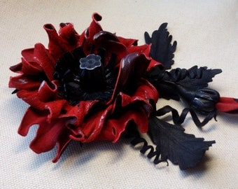 Leather Flower Brooch, Leather Jewelry, Leather Brooch, Flower Brooch, Leather Brooch, Leather Poppy, Leather Flower, Brooch, Brooches,poppy