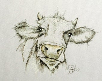 Moo Cow Pen & ink Drawing