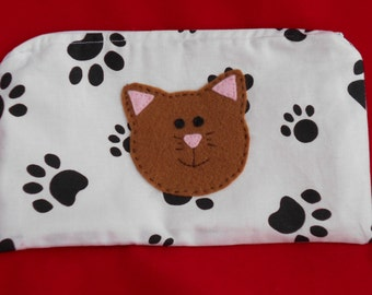CAT Pencil Case -  Black Paw Prints - lined pencil case with applique 'Callie Cat' sewn on the front - Handmade - Gift Idea - Stationery