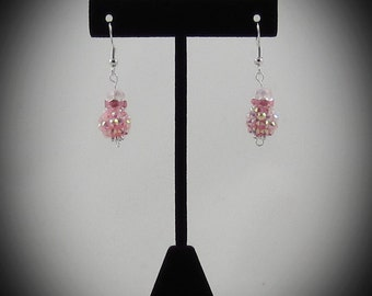 Light Pink Rhinestone Earrings