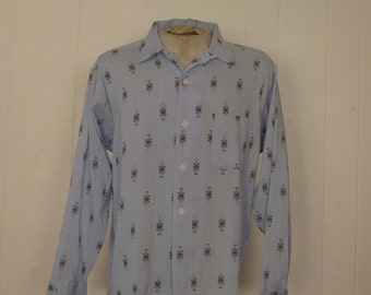 Vintage 1950s Rockabilly shirt Gabardine Distinctive Sportswear Large NOS