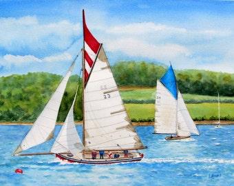 Boat painting sailboats original watercolor seascape boats regatta racing red blue green white 11x15