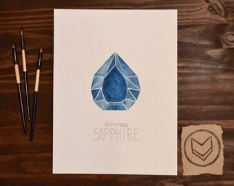 Custom September Watercolor Birthstone - Sapphire