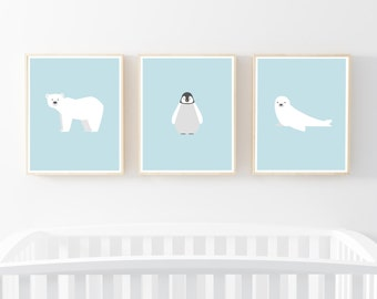 "Nursery Print set of 3 11x14"", Arctic Animal Art, Baby Penguin Seal Polar bear Print, Nursery Wall Print, Kids Print, Nursery Art, Baby Blue"