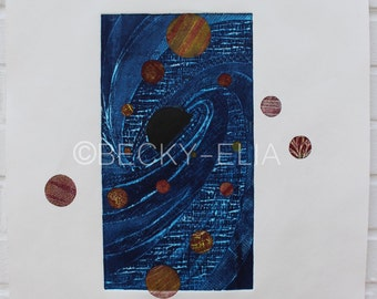 Black Hole Design 3B 70X50cm (yellow, red, sepia, blue and black) collagraph
