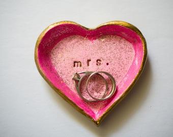 heart ring dish; mrs ring dish; pink ring dish; small clay ring dish; handmade ring dish