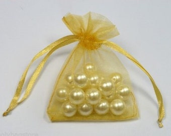 GOLD - Organza Bags 7cm x 9cm For Wedding Favours, Jewellery, Gifts
