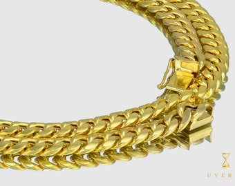 """7mm 14K Semi-Solid Yellow Gold Miami Cuban Link Men's Chain Necklace 16""""-32"""" inches"""