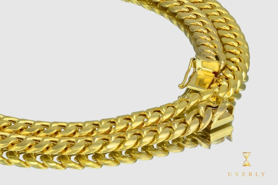 "7mm 14K Semi-Solid Yellow Gold Miami Cuban Link Men's Chain Necklace 16""-32"" inches"