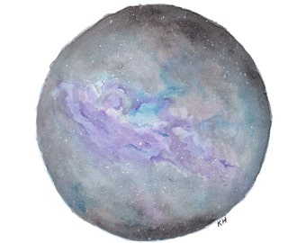 Watercolour Galaxy -Print A4, Space painting, Stars in Night Sky, Night time, Milkyway Galaxy, Circle Galaxy Art, Watercolor Galaxy