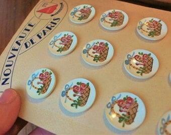 Nouveaute de Paris Vintage Buttons 12 hand painted flowers // original card
