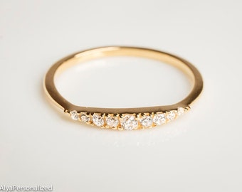 Diamond Wedding Band - Wedding Band Women - Diamond Wedding Ring - Half Eternity Band - Gold Wedding Band - Diamond Eternity Band