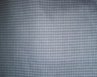 "Vintage Richloom Blue Checked Upholstery Fabric 54"" X 70"""