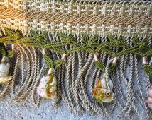 "2.6yd Vintage Silk Passementerie 5.75"" French Tassel Upholstery Trim Fringe Bullion Onion (Taupe Green Pink Gold)"