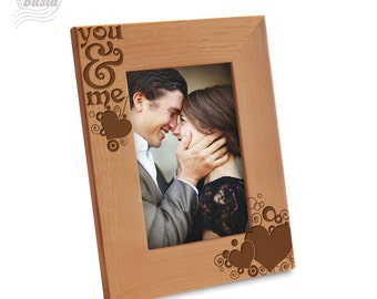 You & Me Picture Frame - Love Picture Frame- Couple Picture Frame - Engraved Natural Wood Picture Frame