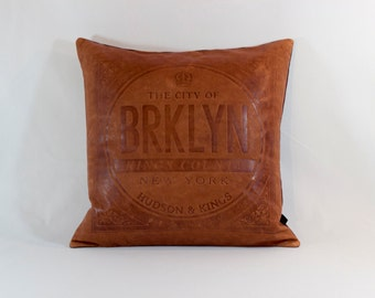 King's County Leather Cushion Cover