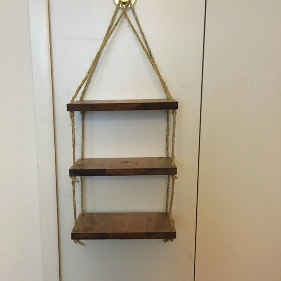 rope ladder shelf wall shelf custom wood shelf rope by diyinmi. Black Bedroom Furniture Sets. Home Design Ideas