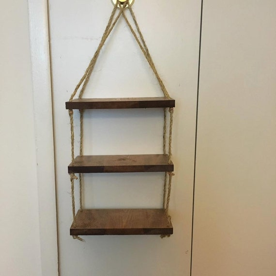 Rope ladder shelf wall shelf custom wood shelf rope by diyinmi - Reclaimed wood ladder shelf ...