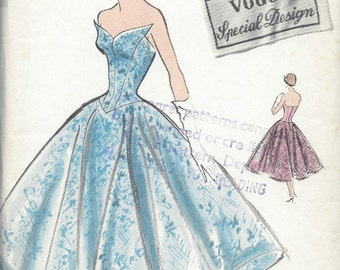 1950s Vintage VOGUE Sewing Pattern B34 DRESS (R914) Vogue S-4772