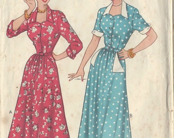 "1940s Vintage Sewing Pattern DRESS B36"" (R69) Economy Design E33"