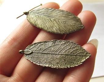 Leaf Charm Pendant Antique Brass Drop Handmade Jewelry Finding 19x47mm 5 pcs