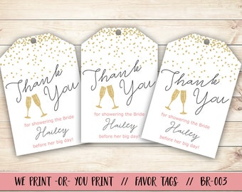 Bridal Shower Favor Tag, Pop Fizz Clink Bridal Shower, Bridal Shower Gift Tag, Confetti Bridal Shower Gift Tag, Bridal Shower Thank You