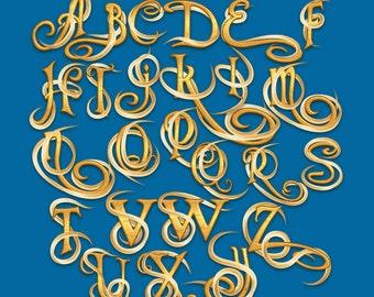 Tangled - Alphabet Clipart - 109 png files 300 dpi - 2 Alphabets