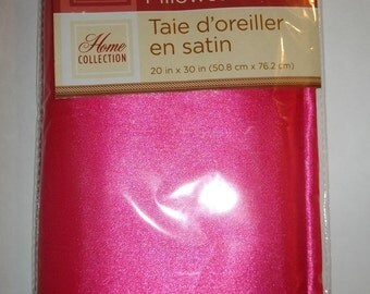 """Hot Pink Satin Pillowcases Set of 2 DIY Sewing Fabric Home Decor Bedding Standard 20X30"""" New"""