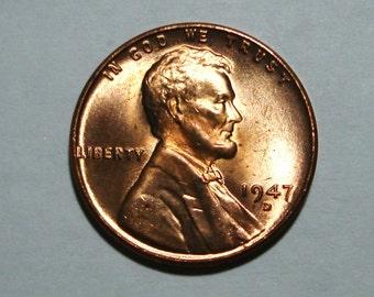 USA 1947-D Denver Mint Copper Lincoln Wheat Cent Bu Condition.