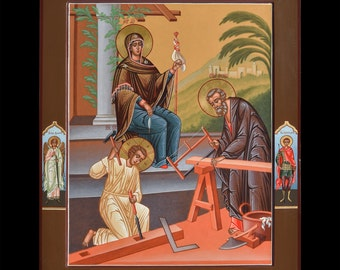 """Icon of the Holy Family. Icon Russian orthodox. Icon handpainted on wooden panel 15,7""""х19.7""""х1,4"""""""