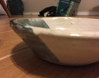 Green and white dipped bowl