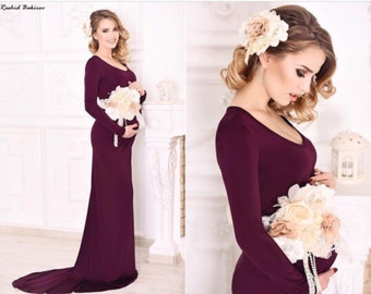 Rosa burgundy wedding, party, event maternity jersey dress with train and shoulder sleeves/wedding gown/bridal dress/evening gown