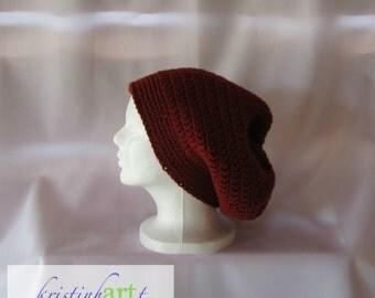 BOHO Slouchy Hat / Handmade Crochet / Women's Gift Idea / Men's Gift Idea / Rust / Acrylic / Adult Size / Warm
