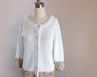 Upsycled White Knited Cardigan - Embellished