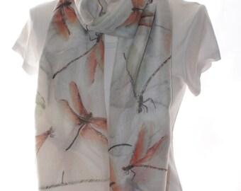 Cream dragonfly Scarf shawl, Beach Wrap, Cowl Scarf, cream dragonfly print scarf, cotton scarf, gifts for her