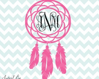 Dreamcatcher Monogram Design SVG, JPEG, PNG cutting files for Cricut, Silhouette and other Vinyl cutters, Instant Download