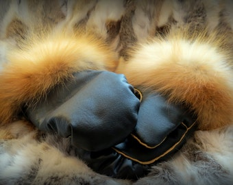 Leather and Fox Fur Mittens